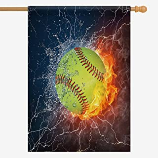 INTERESTPRINT Cool Softball Ball in Fire and Water House Flag House Banner, Decorative Yard Flag for Wishing Party Home Outdoor Decor, 28