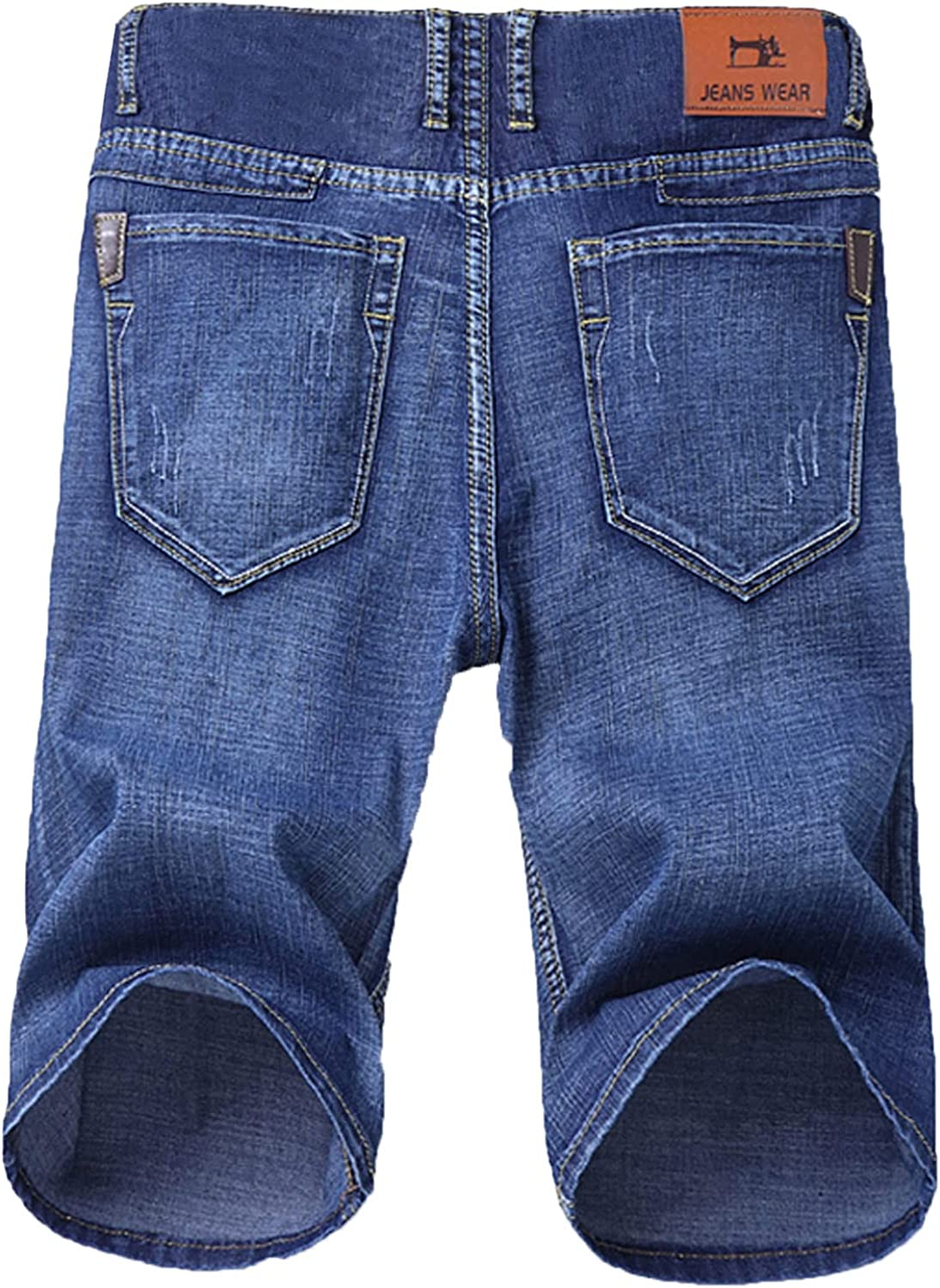 FUNEY Mens Denim Shorts Summer Vintage Washed Ripped Distressed Straight Fit Elastic Knee Length Casual Jean Shorts