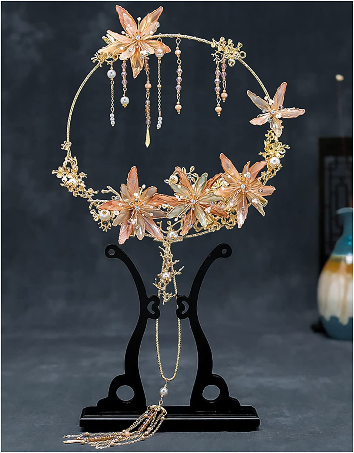 GZDD Classical Time sale Chinese NEW before selling Ancient Fans Flower Pattern Retro Tassel