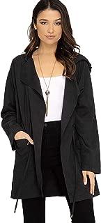 She + Sky Women's Lightweight Hooded Trench Coat or Windbreaker with Tie Waist