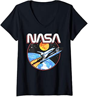 Femme NASA Retro Lift Off Space T-Shirt avec Col en V