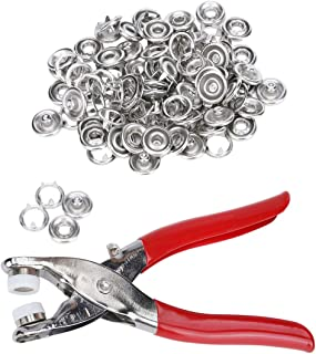 10L0L 3/8 Inch Open-Ring Cap Gripper Grip Prong Stainless Steel Snaps No-Sew Button Fasteners Studs, Fastener Pliers (Snaps Pliers and 100-piece Snaps)