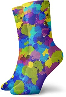Watercolor Abstract Geometric Background With Warm Cushioned Crew Hiking Socks,Free Size