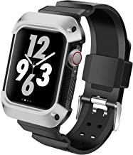 EXCHAR Compatible with Apple Watch 40mm Series 4 Case Band, Anti-Shock Protective Cover/Bumper Connected with iWatch Bands, Stylish Colors for Woman and Man Silver