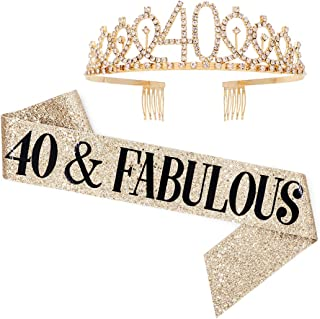 40 and Fabulous Sash & Rhinestone Tiara Set - 40th Birthday Gifts Birthday Sash for Women Birthday Party Supplies (Gold Glitter with Black Lettering)