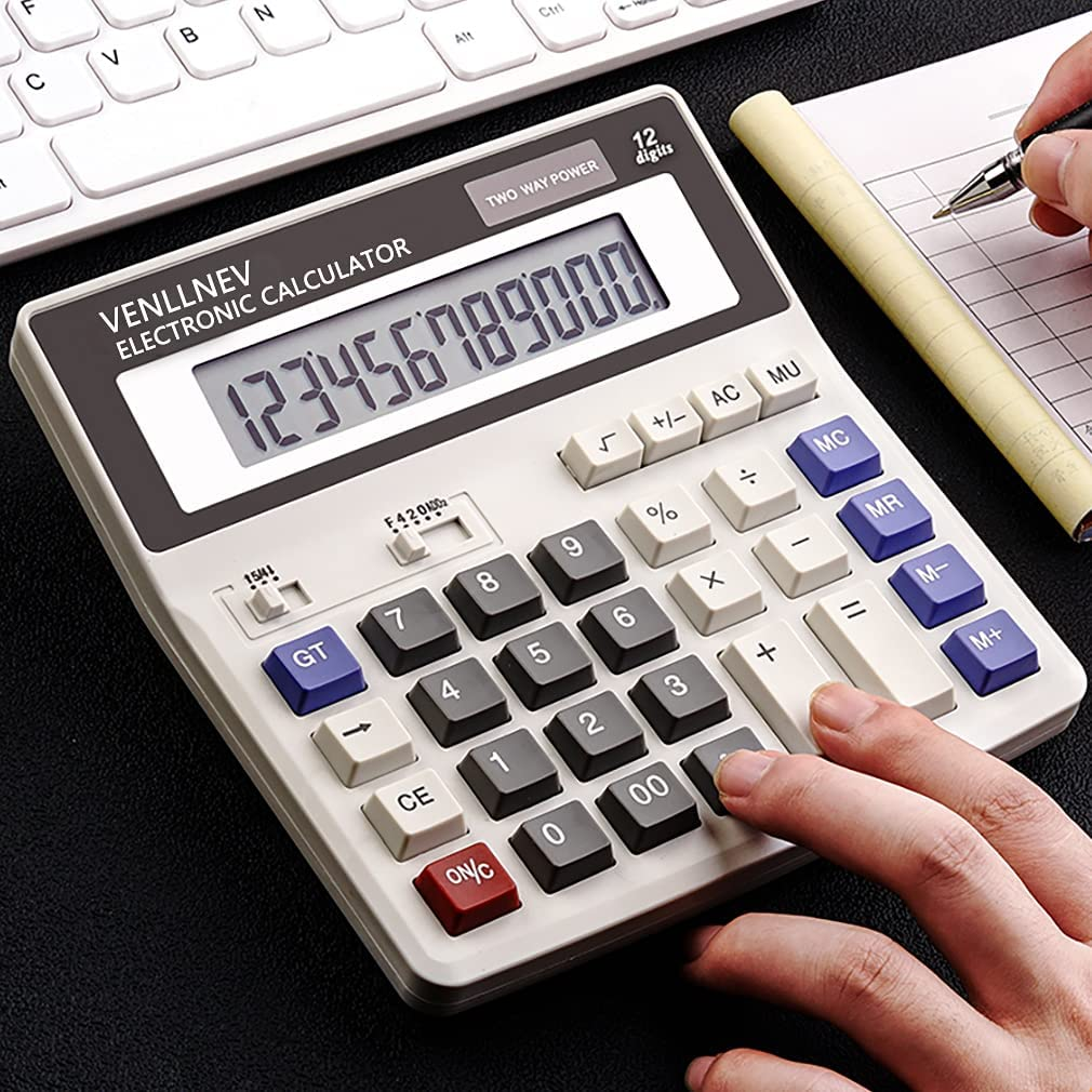 Calculator Large LCD Display Desk 12-Digit Bat Solar Max 79% famous OFF