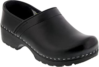 Bjork Karin Swedish Women's Pro Black Smooth Leather Clogs