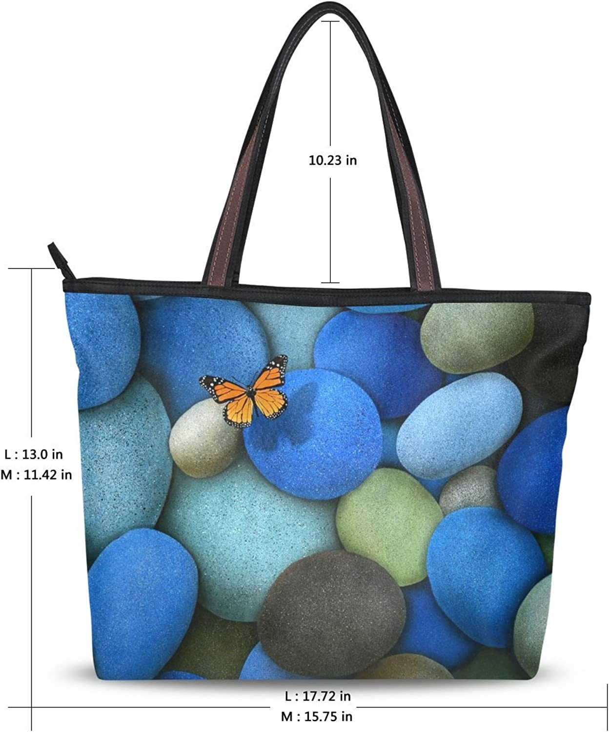 Use4 Womens Fashion Handbag Design Shoulder Bag Butterfly bluee Stone Tote Bags