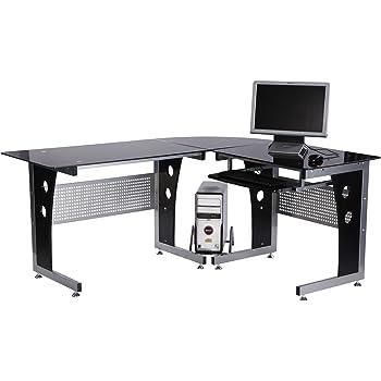 HLC Bureau d/'angle pour Ordinateur Meuble Informatique Table de Travail Plateaux