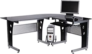 Homcom Computer Corner Desk Unit with Black Safety Glass