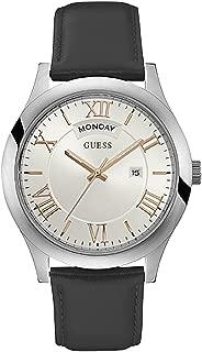 GUESS Men's Quartz Watch with Leather Strap, Black, 22 (Model: U0792G8)