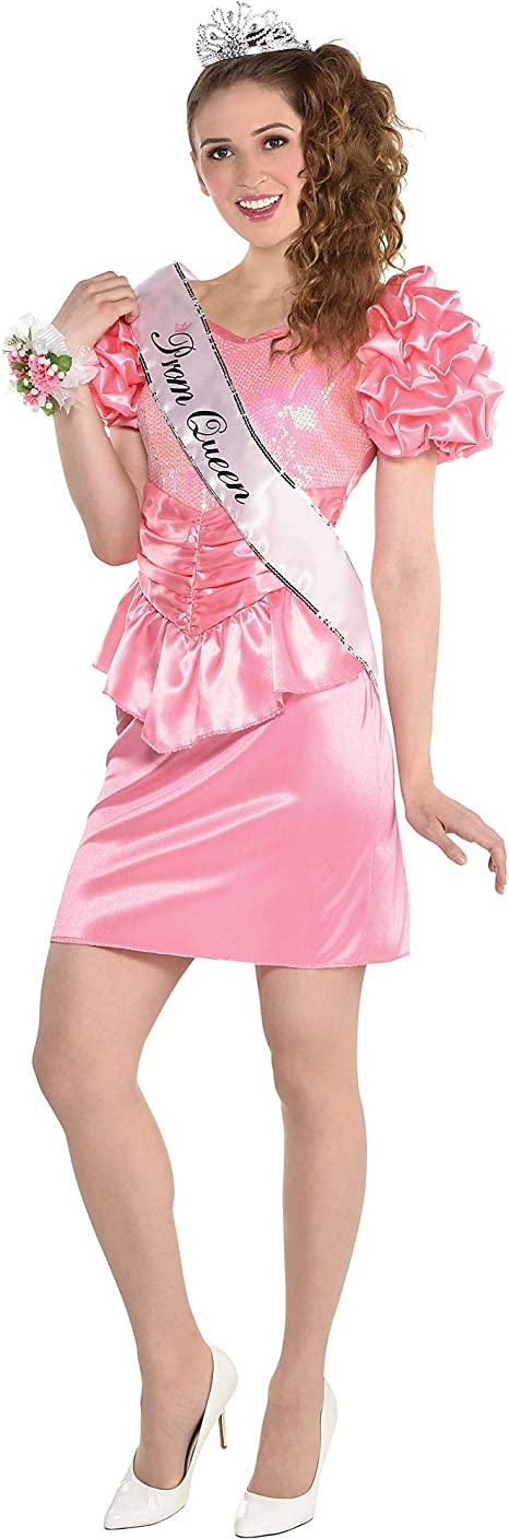 80s Costumes, 80s Clothing Ideas- Girls amscan Over The Top 80s Prom Queen Dress Halloween Costume for Women Large/Extra Large Pink with Sequins and Ruffles multicolor (8406072)  AT vintagedancer.com