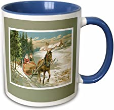 """3dRose mug_149599_6""""vintage Christmas Card with A Couple In Horse Drawn Sleigh On Light green Background"""" Two Tone Blue Mug, 11 oz, Blue/White"""
