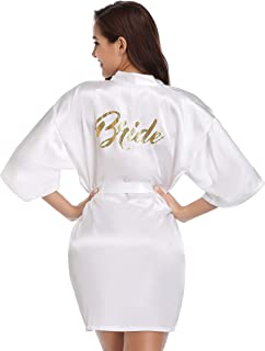 Women's Satin Robe Short Kimono for Bride & Bridesmaid Wedding Party Robes with Gold Glitter or Rhinestones