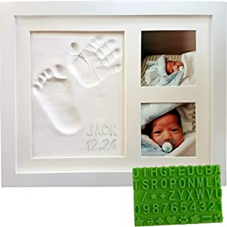 Baby Handprint & Footprint Keepsake Photo Frame Kit - Personzalize it w/Free Stencil! Non-Toxic Clay, Wall/Table Wood Pict...