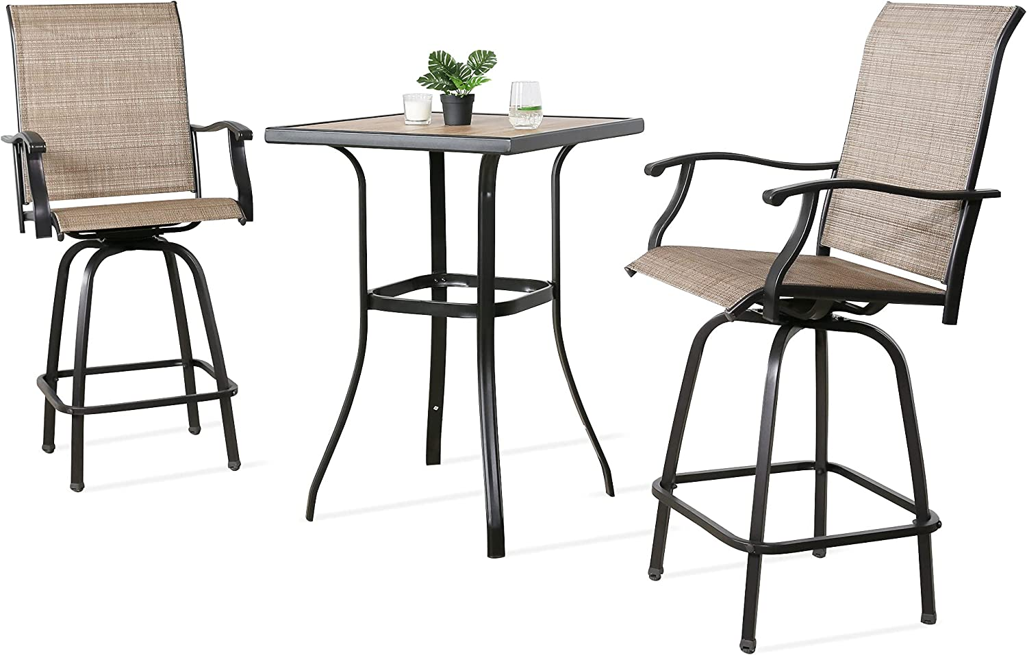 Ulax Furniture 3 Portland Mall Piece Free Shipping New Outdoor Set Bar Patio Bistro Co