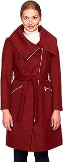 Women's Plus Size Asymmetrical Zip Belted Wool Blend Coat