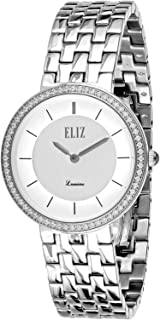 Eliz Women's White Dial Stainless Steel Band Watch - 8435L