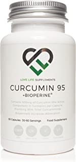 Love Life Supplements Curcumin 95 + Bioperine | 500mg x 60 Capsules | 95% Curcuminoids | | Highest Quality Turmeric Extract Containing Only Curcumin (The Active Component Of Turmeric) | No. 1 Selling Curcumin Product in UK