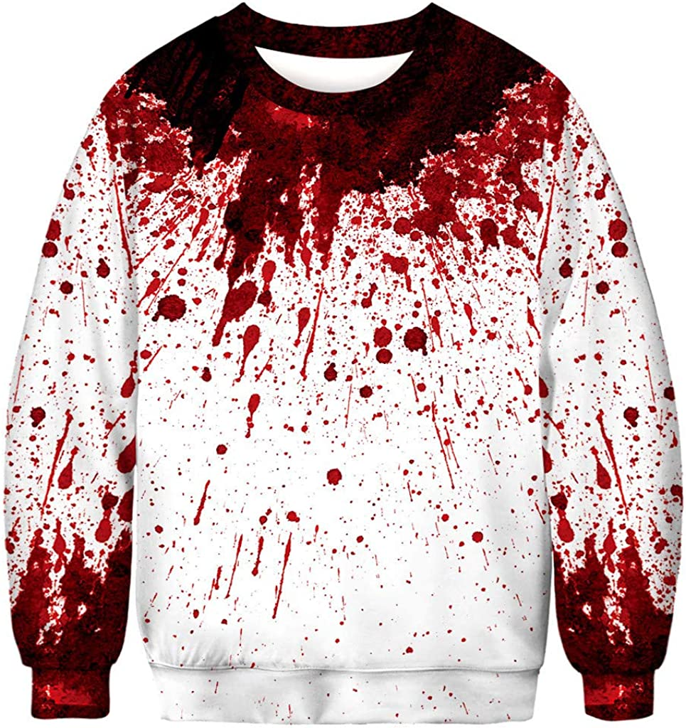 Halloween Sweatshirts for Men Pullover Lightweight, Unisex 3D Printed Long Sleeve Hoodies Casual Hooded Pullover Outwear