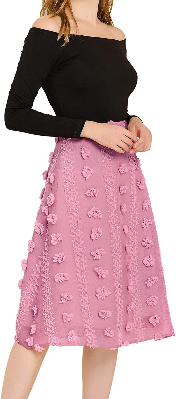 Allegra K Women's Pom Pom High Waist A-line Textured Midi Skirt