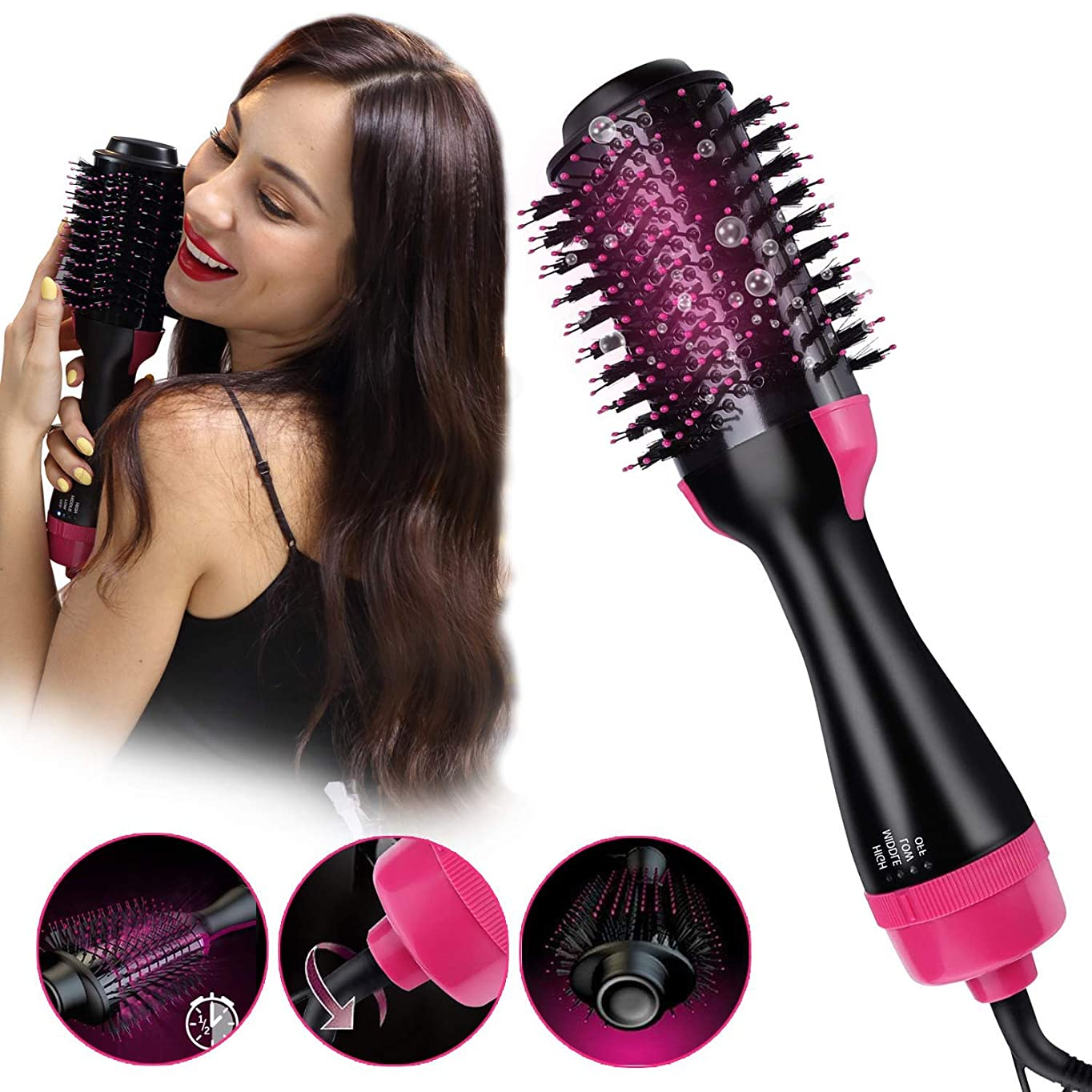 リファイン破産流体OULYO- ホットエアーブラシ、ワンステップヘアドライヤー&ボリューマイザースタイラーブラシ、2 in 1マイナスイオン矯正ブラシサロン、カーリーヘアコーム、すべての髪に効果的