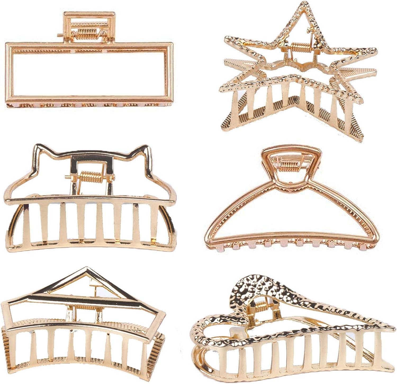 Pinza Pelo Grande, 6 Pcs Pinzas Metal Pelo, Pinzas Para el Pelo Mujer Grandes Pinzas Clip Pelo Mujer para Recoger pelo Mujer para Mujeres Niñas Hebillas de Pelo para Sujetar Pelo