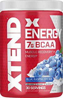 XTEND Energy BCAA Powder Blue Raspberry | 125mg Caffeine + Sugar Free Pre Workout Muscle Recovery Drink with Amino Acids |...