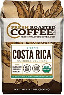 Fresh Roasted Coffee LLC, Costa Rica Cumbres del Poas Organic Coffee, Whole Bean (2 lb.)
