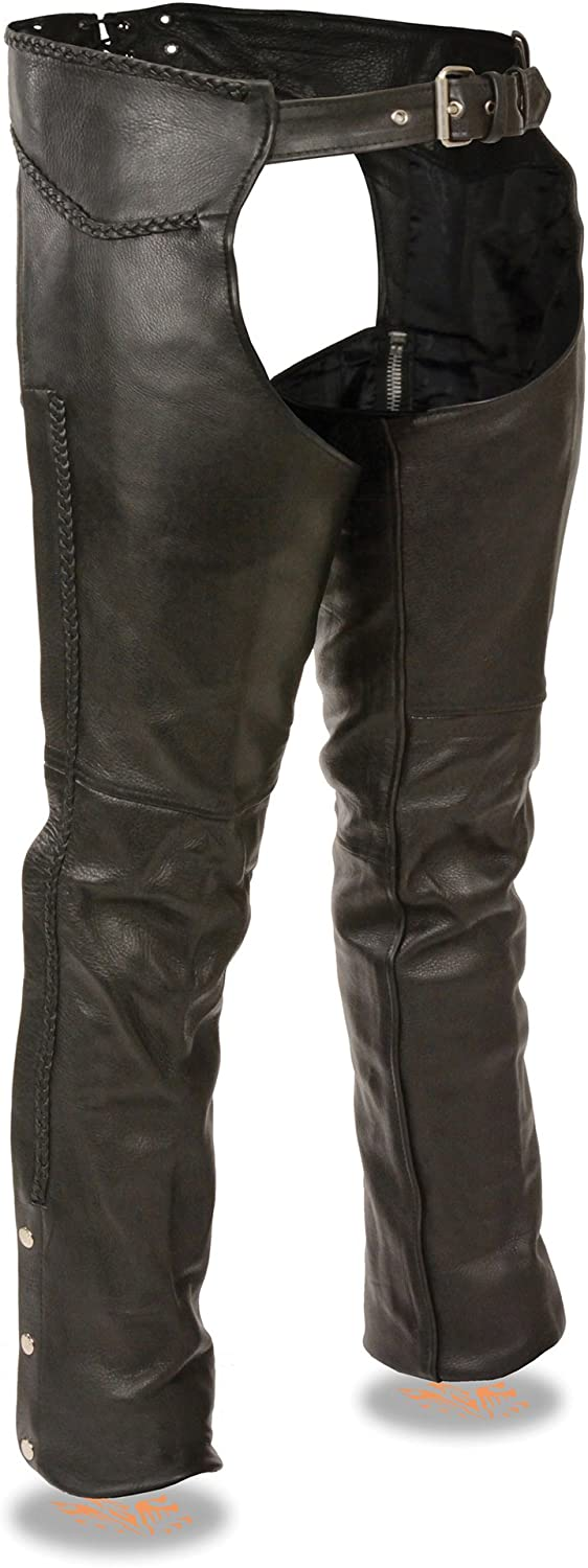 Milwaukee Leather Mens Classic Leather Chaps With Braiding