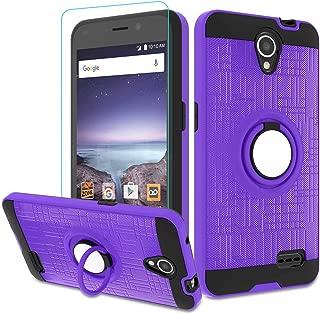 Maven 2 Z831/ ZFive 2/ Sonata 3/ Avid Trio Z833/ Avid Plus Z828/ Prestige N9132/ Prestige 2 Case with HD Screen Protector,Atump Ring Holder Kickstand Phone Case for N9136 Purple