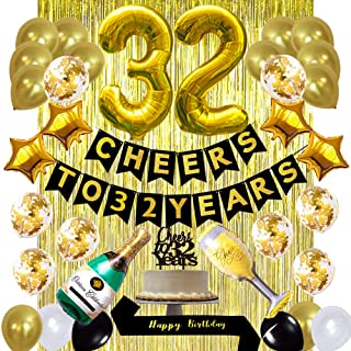 Gold 32nd Birthday Decorations kit, Cheers to 32 Years Banner Balloons,32nd Cake Topper Birthday Sash, Gold Tinsel Foil Fr...