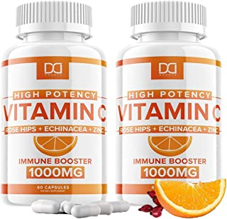 Vitamin C Capsules with Zinc + Rose Hips and Echinacea (120 Count | 1000mg) VIT C Pills Immune Supplement for Adults Kids,...