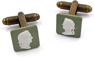 Wedgwood Authentic Bronze Jasperware Cufflinks Caesar in Profile