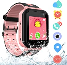 Kids Waterproof Smart Watch Phone for Students, Girls Boys Touch Screen Smartwatch with AGPS & LBS Tracker Voice Chat SOS Camera Flashlightfor Alarm Clock, Children's Gift Back to School(S7 Pink)