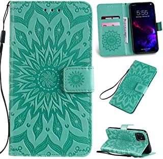 Cmeka 3D Sunflower Wallet Case for iPhone 11 2019 6.1 inch with Credit Card Slots Holder Magnetic Closure Slim Flip Leather Kickstand Function Protective Case Mint Green