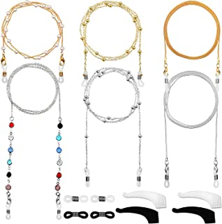 6 Pieces Eyeglass Chains Elegant Eyewear Retainer Beaded Eyeglass Strap Holder
