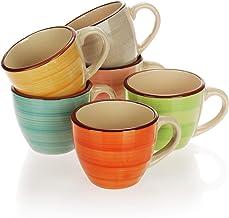COM-FOUR® 6x Taza de Espresso - tazas de cerámica - petites tasses à café - tasse expresso - tasse cafe expresso (06 pièces - vert/orange/rose/bleu/jaune/gris)