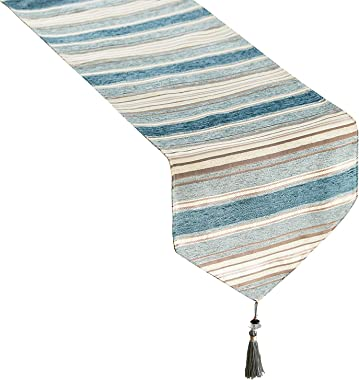 Top Finel Dining Table Runner 72 inches, Striped Cotton Linen Table Runners with Tassels for Party Holiday Wedding Gathering,