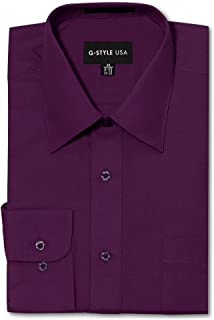 G-Style USA Men's Regular Fit Long Sleeve Solid Color Dress Shirts - Wine - X-Large - 32-33