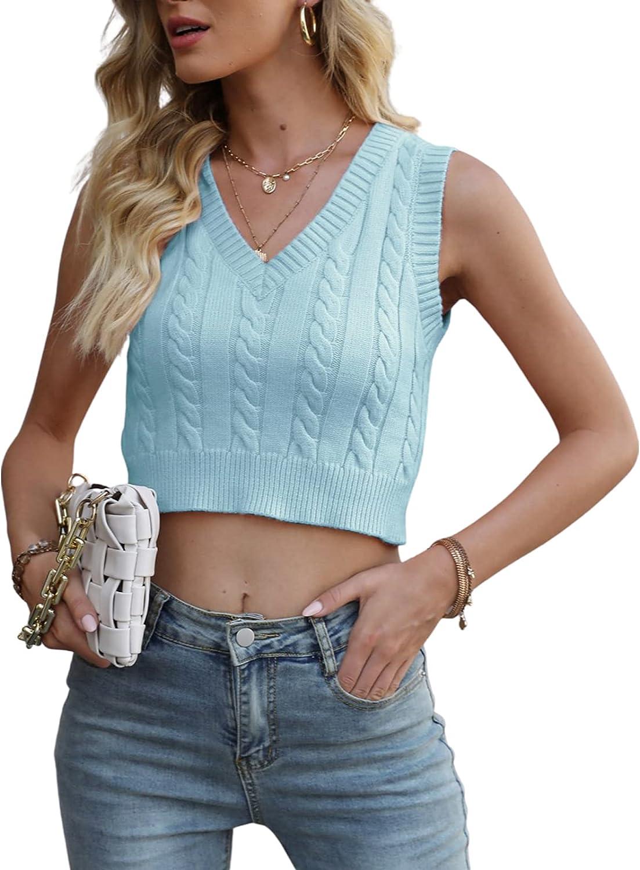 Women's Sleeveless Knitted Vest Block V Neck Sweater Preppy Style Argyle Plaid Crop Tank Tops