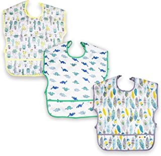 3 Pcs Waterproof Bibs with Crumb Catcher for Baby | Stain and Odor Resistant Waterproof Protection for Messy Eaters | Bibs with Food Catcher and Adjustable Closure - Pack of 3 | 12-36 Months