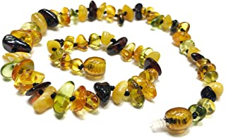 Amber Beata Caribbean Rain Certified Baltic Amber Teething Bracelet and Anklet Baby Beads for Teethers Baltic Amber Cognac, Milky Butterscotch, Cherry Amber and Green Caribbean Amber Amberbeata
