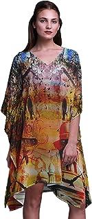 Phagun Women's Mughal Monuments Short Beach Kaftan Beachwear Bikini Coverup Midi Dress-