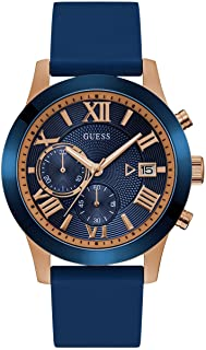 Guess W1055G2 analog Silicone Casual Watch For Men - Navy Gold