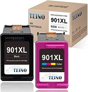 TEINO Remanufactured Ink Cartridges Replacement for HP 901 901XL 901 XL use with OfficeJet J4680 4500 J4580 J4550 J4680c J4500 J4540 J4624 J4660 J4640 J4524 (Black Tri-Color, 2-Pack)