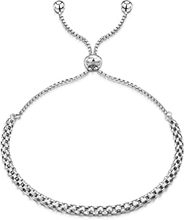 """Amberta 925 Sterling Silver - Rhodium Plated - Various Types - 1.2 mm Chain Bracelet with Charm - Adjustable up to 9"""" inch..."""