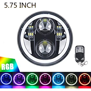 5 3//4 5.75 H4//9003//HB2 RGB MULTI COLOR LED SMD Halo Headlights Conversion Semi-sealed