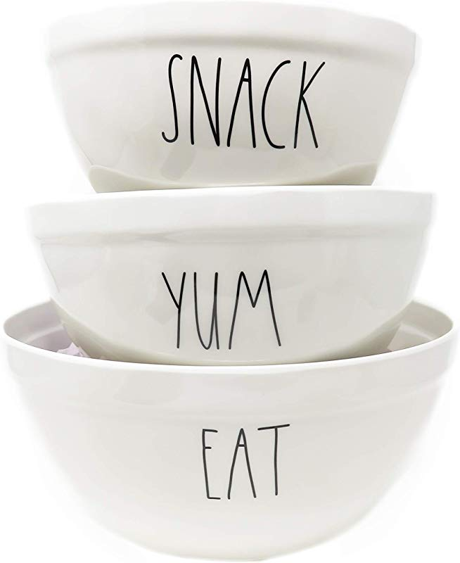 Rae Dunn By Magenta 3 Piece SNACK YUM EAT Melamine LL Nesting Serving Mixing Bowl Set