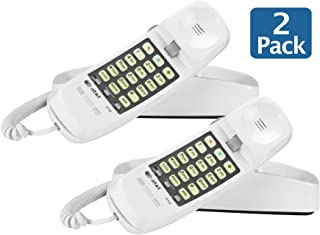AT&T 89-0008-06 Model 210M Trimline Corded Phone 93020, White, Table and Wall Mountable - Pack of 2